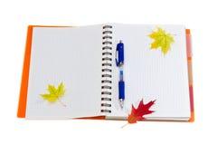 笔记本、笔和一些秋叶 免版税图库摄影