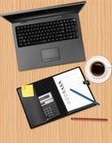 笔记本办公室电话供应向量 免版税图库摄影