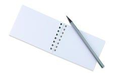 笔记本和一支简单的铅笔 免版税库存图片