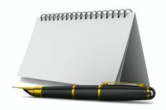 笔记本和笔在白色背景 库存图片