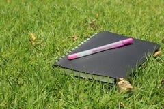 笔记本和笔在草 库存照片