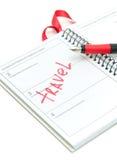 笔记本和笔特写镜头在白色背景 图库摄影