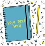 笔记本和铅笔,几何样式背景 免版税库存图片