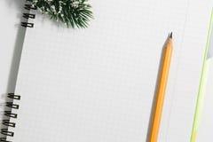 笔记本和黄色铅笔有针叶树的在一白色backgr分支 库存图片