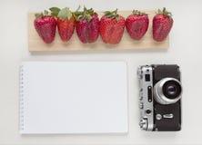 笔记本嘲笑为与老照相机、笔和红色草莓的艺术品 顶视图 安置文本 图库摄影