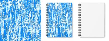 笔记本封面设计有无缝的纹理的和现实图象布局,精装书笔记本的大模型 库存照片