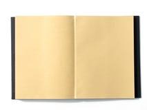 笔记本开放空白的棕色页 免版税图库摄影