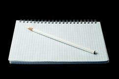 笔记本开放铅笔 免版税图库摄影