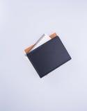 笔记本或黑皮革笔记本在blackground 免版税库存图片