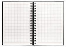 笔记本有螺旋黏合剂开放书白色背景 免版税库存照片