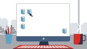笔记本桌面传染媒介例证 企业显示器现代显示数字式屏幕平的样式 免版税图库摄影