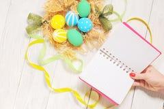笔记本用eco在巢的复活节彩蛋在土气白色背景 免版税库存图片