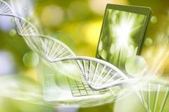 笔记本的图象在基因链背景的 免版税图库摄影