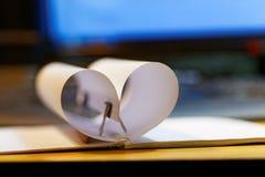 从笔记本的心脏 库存图片