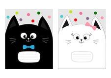 笔记本盖子构成书模板 有弓的黑白色猫全部赌注头 逗人喜爱的动画片字符集 宠物婴孩汇集汽车 向量例证