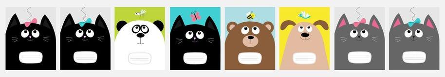 笔记本盖子 小猫,熊猫,狗,熊全部赌注头 弓,蝴蝶,蜻蜓,蜂蚊子 逗人喜爱的动画片字符集 皇族释放例证