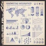 笔记本笔被画的infographics 库存图片