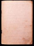 笔记本老纸张 免版税库存照片