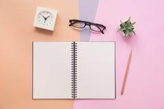 笔记本顶视图有笔的,镜片,时钟,浆糊的植物 库存照片