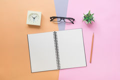 笔记本顶视图有笔的,镜片,时钟,浆糊的植物 免版税库存图片