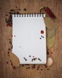 笔记本食谱香料 免版税库存图片