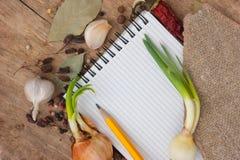 笔记本食谱香料 库存照片
