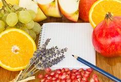 笔记本食谱 免版税库存图片