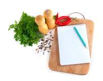 笔记本食谱 免版税图库摄影
