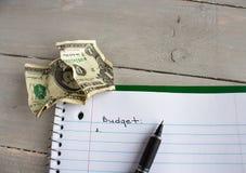 笔记本玻璃批评美元预算 库存图片