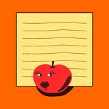 笔记本-红色苹果 库存图片