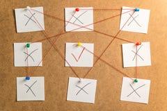 笔记的九个白色贴纸与在加州倒带的x和v标记 库存照片