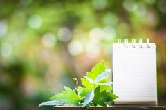笔记的纸关于使用墙纸或背景的木头和bokeh背景 免版税图库摄影