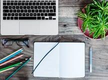 笔记薄、膝上型计算机和绿色多汁植物在木书桌上 库存图片