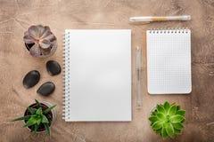 笔记薄和多汁植物在桌上 企业概念 顶视图 复制空间 库存图片