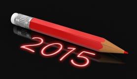 笔记薄和铅笔与2015年(包括的裁减路线) 免版税库存照片