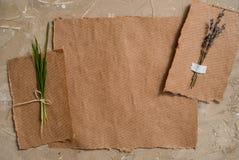 笔记薄是词条的一个笔记本 牛皮纸明信片 淡紫色花干草干燥标本集  在棕色古色古香的背景 库存图片