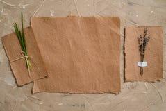 笔记薄是词条的一个笔记本 牛皮纸明信片 淡紫色花干草干燥标本集  在棕色古色古香的背景 免版税库存照片