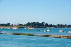 笔Bron看法从Le Croisic港口的在卢瓦尔河大西洋省 库存图片