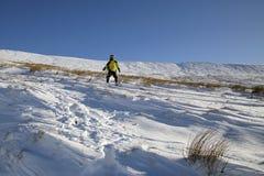 笔y爱好者山的挡雪板在冬天 免版税库存图片