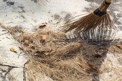 笤帚去除废弃物、干草和死的叶子 免版税库存图片