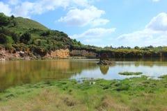 笤帚和硫磺岩石在湖 免版税库存照片