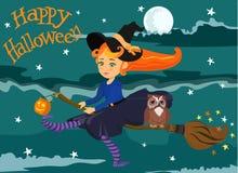 笤帚的逗人喜爱的红发女孩巫婆 愉快的万圣节 向量 免版税库存图片