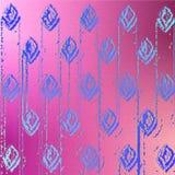 符号图象在紫色背景的芽花和链子的蓝色样式 免版税库存照片