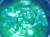 符号温泉闪耀的绿松石水 免版税库存照片