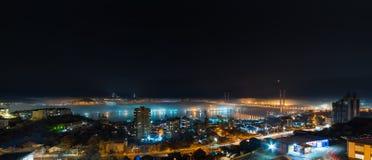 符拉迪沃斯托克都市风景夜视图 库存照片