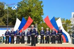 符拉迪沃斯托克, 2015年10月, 05日 太平洋舰队的歌曲和舞蹈合奏音乐会在符拉迪沃斯托克的 库存图片