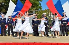 符拉迪沃斯托克, 2015年10月, 05日 太平洋舰队的歌曲和舞蹈合奏音乐会在符拉迪沃斯托克的 免版税图库摄影