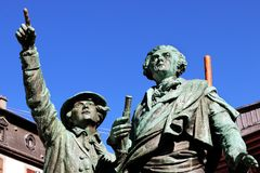 第一个上升勃朗峰夏慕尼山历史占领纪念碑山顶 库存照片