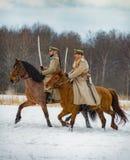 第一个世界的时期战斗的军事历史重建在Borodino领域的2016年3月13日 免版税图库摄影
