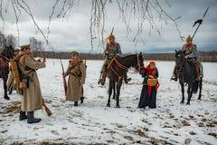 第一个世界的时期战斗的军事历史重建在Borodino领域的2016年3月13日 免版税库存照片